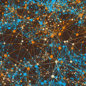 Orange and blue connected lines on brown. Abstract background — Stock Photo