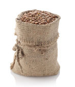 Lentils in a textile sack — Stock Photo