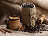 Coffee cup cinnamon coffee beans — Stockfoto