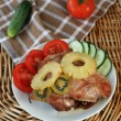 Roasted turkey meat with pineapple and kiwi — Stock Photo