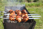 Chicken grilled on skewers  — Stockfoto
