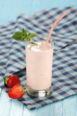 Strawberry with yogurt in a glass  — Stock Photo