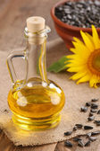 Sunflower oil, seed and sunflower  — Stock fotografie
