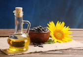 Sunflower oil, seed and sunflower — Stok fotoğraf