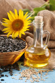 Sunflower oil, seed and sunflower  — Stockfoto