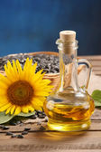 Sunflower oil, seed and sunflower  — Zdjęcie stockowe