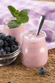 Yogurt with blueberries in a glass jar and blueberries in a glas — Stock Photo