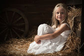 Girl sits on hay in the barn — Stock Photo