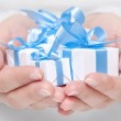 Box with gift in their hands — Stock Photo #39296765