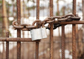 Lock on a circuit  on a lattice — Stock Photo