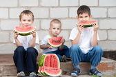 Boys eating watermelon — Stock Photo