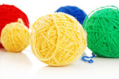 Color woolen clews for knitting — 图库照片
