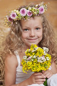 Girl with wreath — Stock Photo