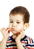 Little boy with inflated cheeks — Foto de Stock