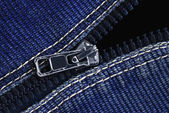 Zipper on a jeans fabric — Stock Photo