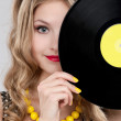 Young girl with vinyl record — Stock Photo #43983211