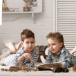 Boys travelers studying maps and books — Stock Photo #43985815
