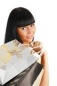 Dívka s balíčky — Stock fotografie