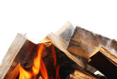 The logs shrouded in a flame of fire — Stock Photo