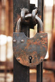 Lock hanging on a fence — Stockfoto