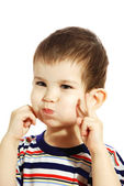 Little boy with inflated cheeks — Stockfoto