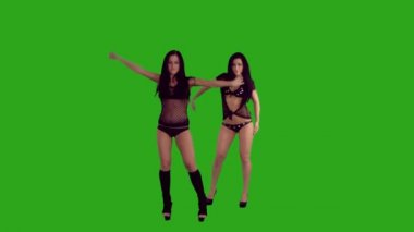 Two sexy brunettes dancing — Stock Video