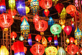 Close-up colorful international lanterns — Stock Photo
