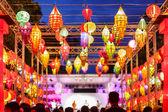 Close-up colorful international lanterns — Stok fotoğraf