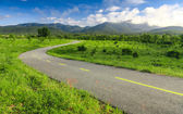 Beautiful countryside road under blue sky — Stock Photo
