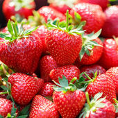 Red juicy fresh strawberries closeup in a basket — Stock Photo