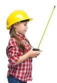 巻尺と建設労働者としての女の子 — ストック写真
