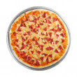 Pizza on the disc (white background) — Stock Photo