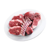 Raw meat on plate (white background) — Stock Photo