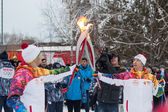Novosibirsk, Russia - December 7 Passing the torch relay, in Nov — Stock Photo
