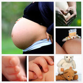 Woman belly in advanced pregnancy with hands — Foto Stock