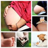 Vientre de la mujer en el embarazo avanzado con las manos — Foto de Stock