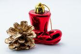 Botte du père Noël et décorations de Noël — Photo