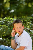 Teenage boy in the nature on beautiful day — Foto Stock