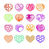 Set of sixteen hearts — Stock Vector