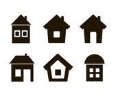 Set of six icons house black — Stock Vector