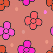 Pattern with flowers on a beige background — Vetorial Stock