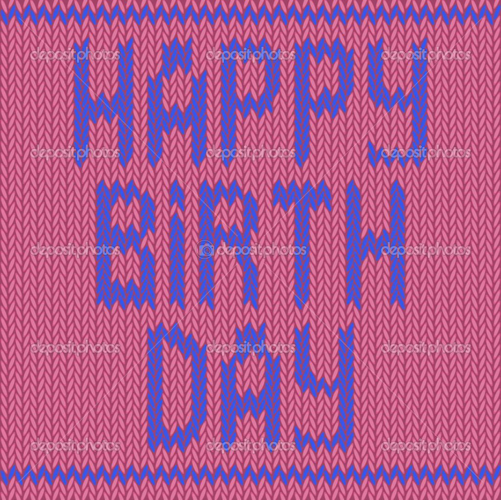 Happy Birthday Knitting Pattern : Happy birthday knitted on a pink background — stock vector