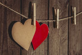 Two Paper Hearts — Stock Photo