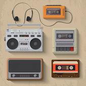 Iconos de reproductor de música retro. — Foto de Stock