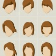 Woman hair style set — Stock Vector