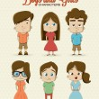 Hipster girl character — Stock Vector