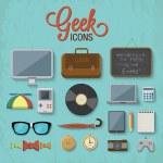 Geek icons — Vector de stock