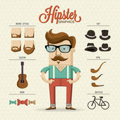 Hipster character — Stock Vector