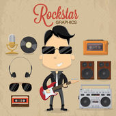 Rock star guy — Stock Vector