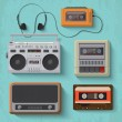 Stock Vector: Retro music player icons